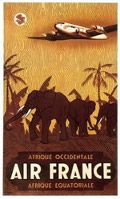 Affiche Air France Afrique Occidentale Equatoriale