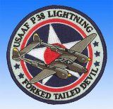 Patch  P-38 Lightning Forked Tailed Devil USSAF