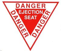 Stickers Autocollant Triangle Danger Ejection Seat (10 cm)